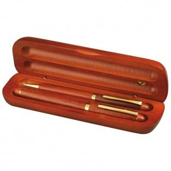 Набор ручка шариковая и ручка перьевая из розового дерева - 14015