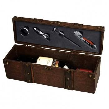 Деревянная коробка с элементами винного набора - 84049