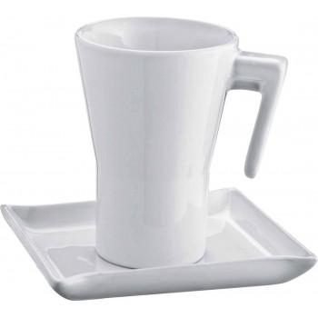 Керамическая чашка с изящной ручкой с блюдцем - 88790