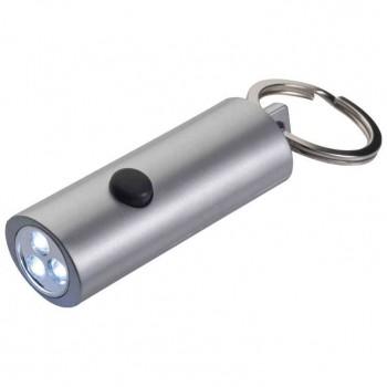 Овальный пластиковый брелок с подсветкой и резиновой кнопкой - 97797