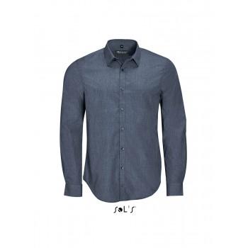 Рубашка мужская из поплина меланж с длинным рукавом SOL'S BARNET MEN - 01428