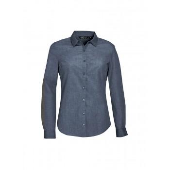 Рубашка женская из поплина меланж с длинным рукавом SOL'S BARNET WOMEN - 01429