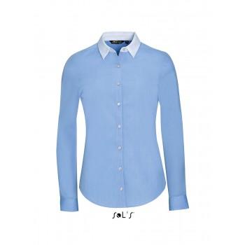 """Рубашка женская, плетение """"нить к нити"""", с длинным рукавом SOL'S BELMONT WOMEN - 01431"""