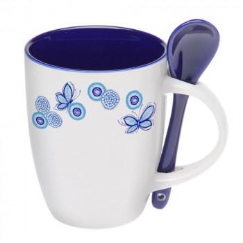 Чашка с ложкой керамическая  88210
