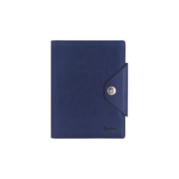 Бизнес-организатор на кнопке 135*185 мм, на кольцах, синий, бумага 80 г/м2, кремовая