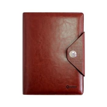 Бизнес-организатор на кнопке, 184*235 мм, на кольцах, коричневый, бумага 80 г/м2, кремовый