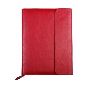 Бизнес-организатор на молнии с клапаном, 184*260 мм, на кольцах, красный, бумага 80 г/м2, кремови